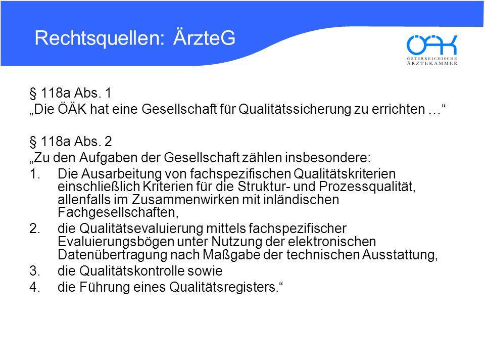 Rechtsquellen: ÄrzteG § 118a Abs. 1 Die ÖÄK hat eine Gesellschaft für Qualitätssicherung zu errichten … § 118a Abs. 2 Zu den Aufgaben der Gesellschaft
