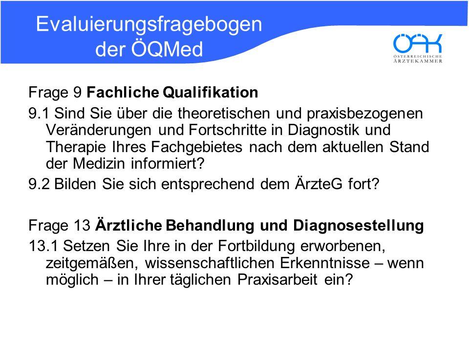 Evaluierungsfragebogen der ÖQMed Frage 9 Fachliche Qualifikation 9.1 Sind Sie über die theoretischen und praxisbezogenen Veränderungen und Fortschritt