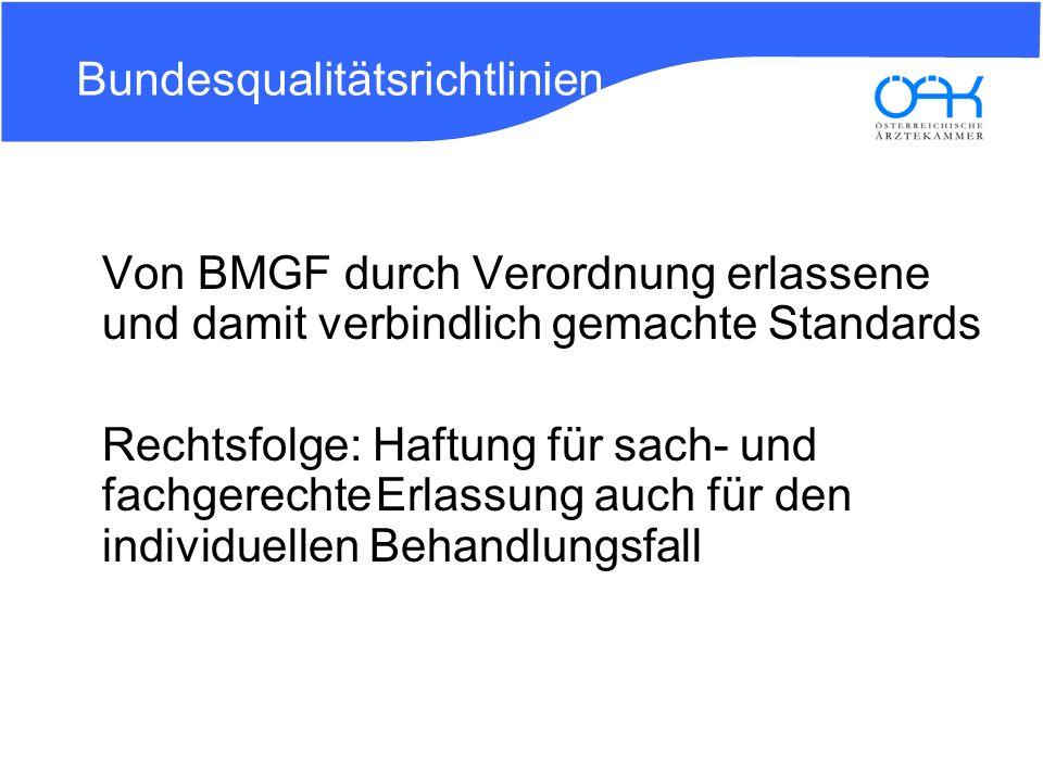 Andere Rechtsquellen Bundesgesetz über die Gesundheit Österreich GmbH (GÖGG) Errichtung eines Bundesinstitutes für Qualität im Gesundheitswesen (BIQG) Aufgaben: Überprüfung, Empfehlung, Erarbeitung von Qualitätsstandards aufgrund bzw.