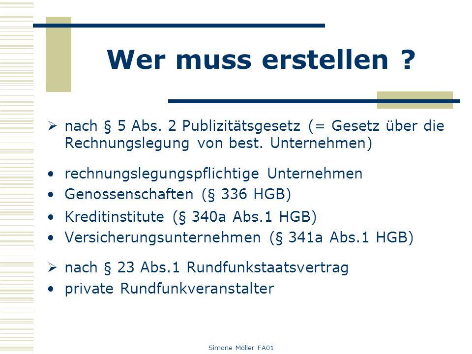 Simone Möller FA01 Wer muss erstellen ? nach § 5 Abs. 2 Publizitätsgesetz (= Gesetz über die Rechnungslegung von best. Unternehmen) rechnungslegungspf