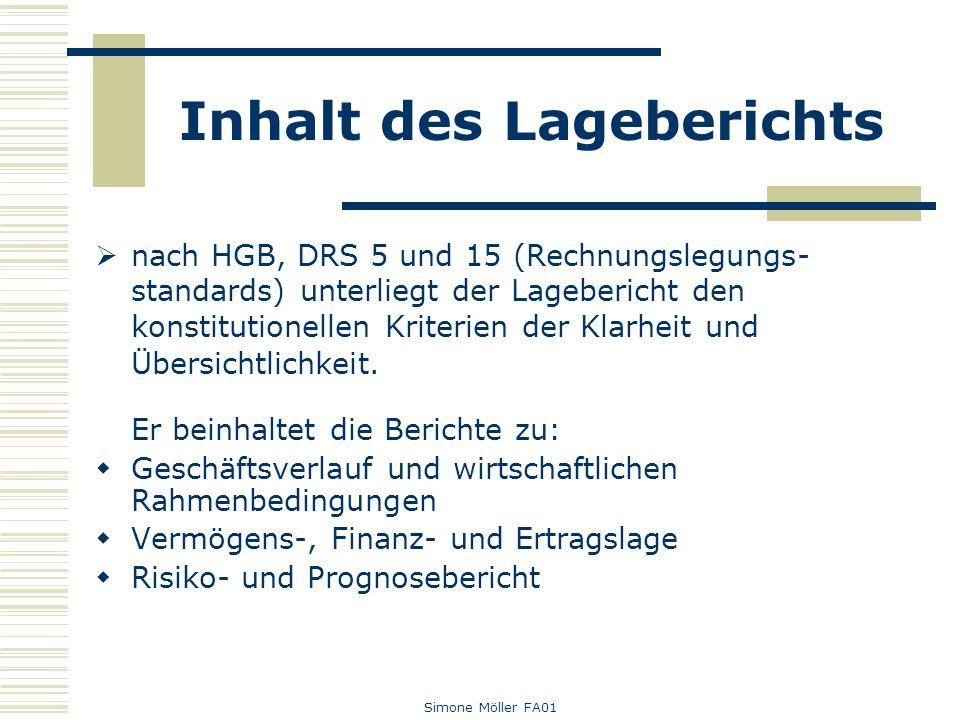 Simone Möller FA01 Inhalt des Lageberichts nach HGB, DRS 5 und 15 (Rechnungslegungs- standards) unterliegt der Lagebericht den konstitutionellen Krite