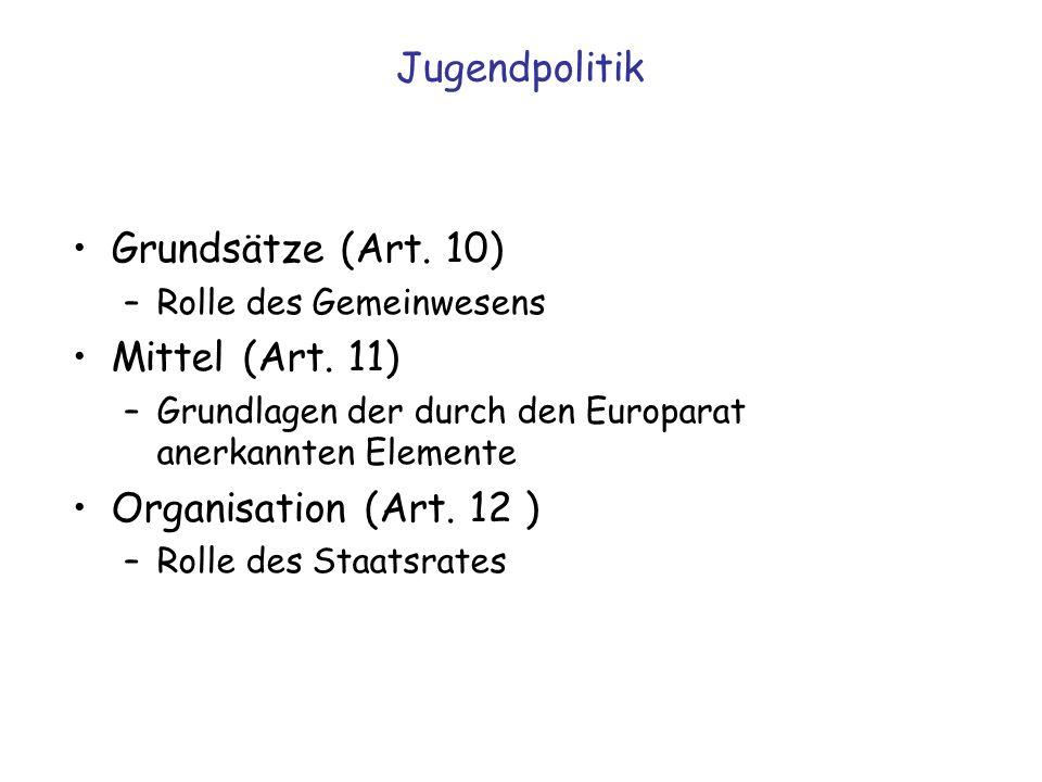 Jugendpolitik Grundsätze (Art. 10) –Rolle des Gemeinwesens Mittel (Art. 11) –Grundlagen der durch den Europarat anerkannten Elemente Organisation (Art