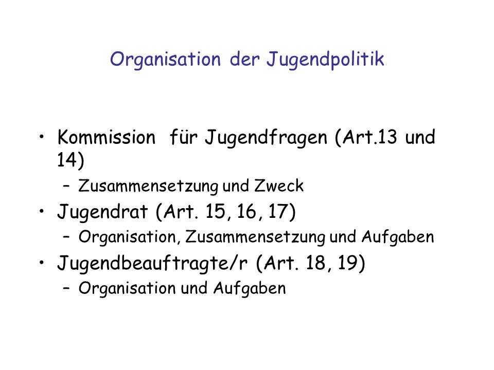 Organisation der Jugendpolitik Kommission für Jugendfragen (Art.13 und 14) –Zusammensetzung und Zweck Jugendrat (Art. 15, 16, 17) –Organisation, Zusam