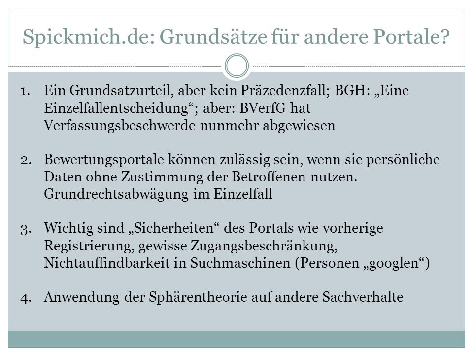 Spickmich.de: Grundsätze für andere Portale.