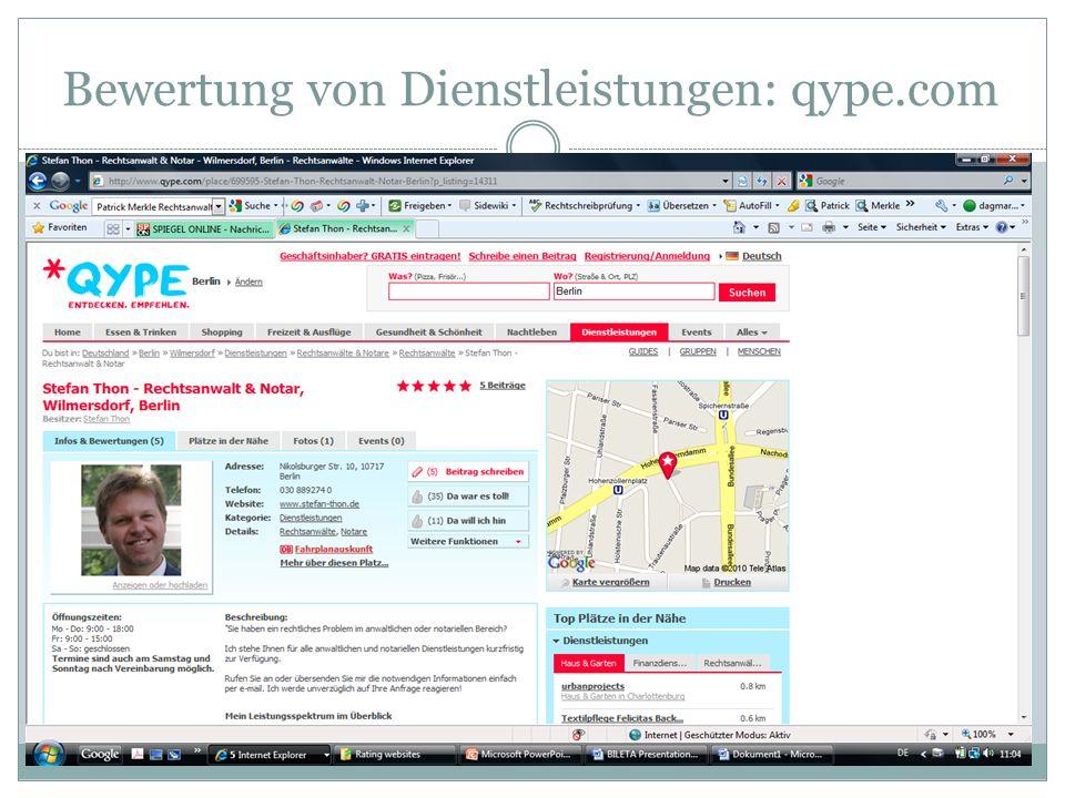 Bewertung von Dienstleistungen: qype.com