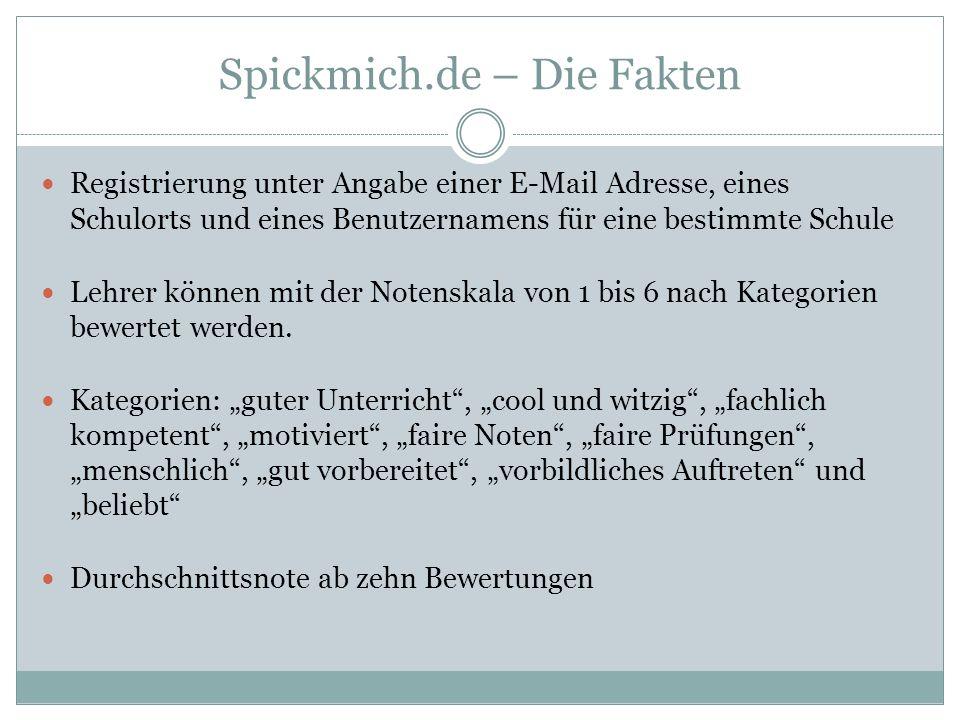 Spickmich.de – Die Fakten Registrierung unter Angabe einer E-Mail Adresse, eines Schulorts und eines Benutzernamens für eine bestimmte Schule Lehrer können mit der Notenskala von 1 bis 6 nach Kategorien bewertet werden.