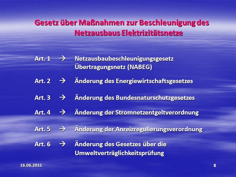 16.06.20118 Gesetz über Maßnahmen zur Beschleunigung des Netzausbaus Elektrizitätsnetze Art.