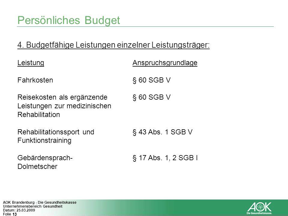 13 AOK Brandenburg - Die Gesundheitskasse Unternehmensbereich Gesundheit Datum: 25.03.2009 Folie 13 Persönliches Budget 4. Budgetfähige Leistungen ein