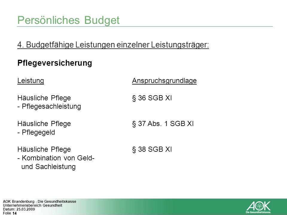 14 AOK Brandenburg - Die Gesundheitskasse Unternehmensbereich Gesundheit Datum: 25.03.2009 Folie 14 Persönliches Budget 4. Budgetfähige Leistungen ein