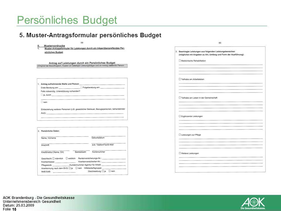 16 AOK Brandenburg - Die Gesundheitskasse Unternehmensbereich Gesundheit Datum: 25.03.2009 Folie 16 Persönliches Budget 5. Muster-Antragsformular pers