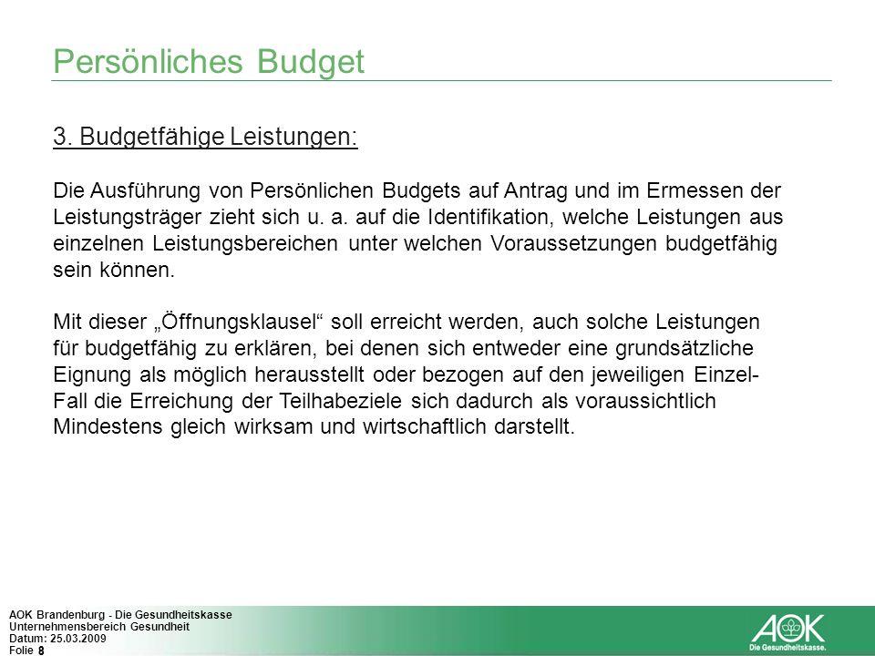 8 AOK Brandenburg - Die Gesundheitskasse Unternehmensbereich Gesundheit Datum: 25.03.2009 Folie 8 Persönliches Budget 3. Budgetfähige Leistungen: Die