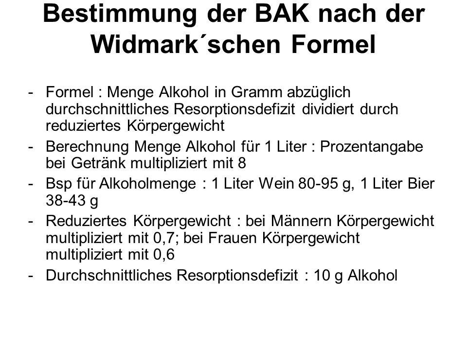 Bestimmung der BAK nach der Widmark´schen Formel -Formel : Menge Alkohol in Gramm abzüglich durchschnittliches Resorptionsdefizit dividiert durch redu