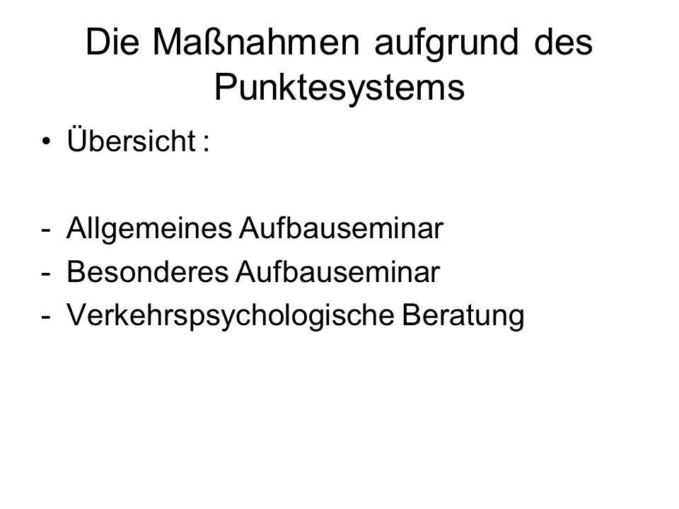 Die Maßnahmen aufgrund des Punktesystems Übersicht : -Allgemeines Aufbauseminar -Besonderes Aufbauseminar -Verkehrspsychologische Beratung