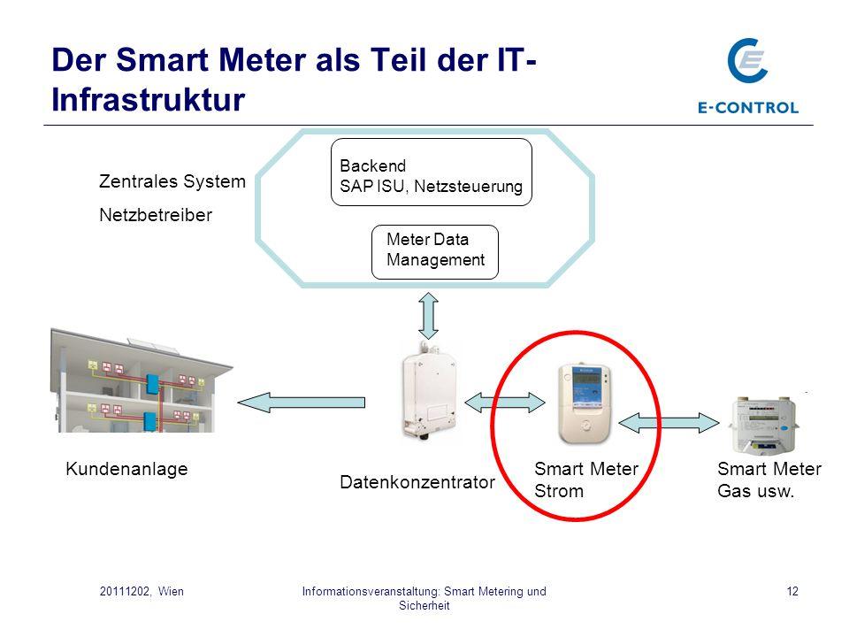 Informationsveranstaltung: Smart Metering und Sicherheit 1220111202, Wien Der Smart Meter als Teil der IT- Infrastruktur Smart Meter Strom Smart Meter