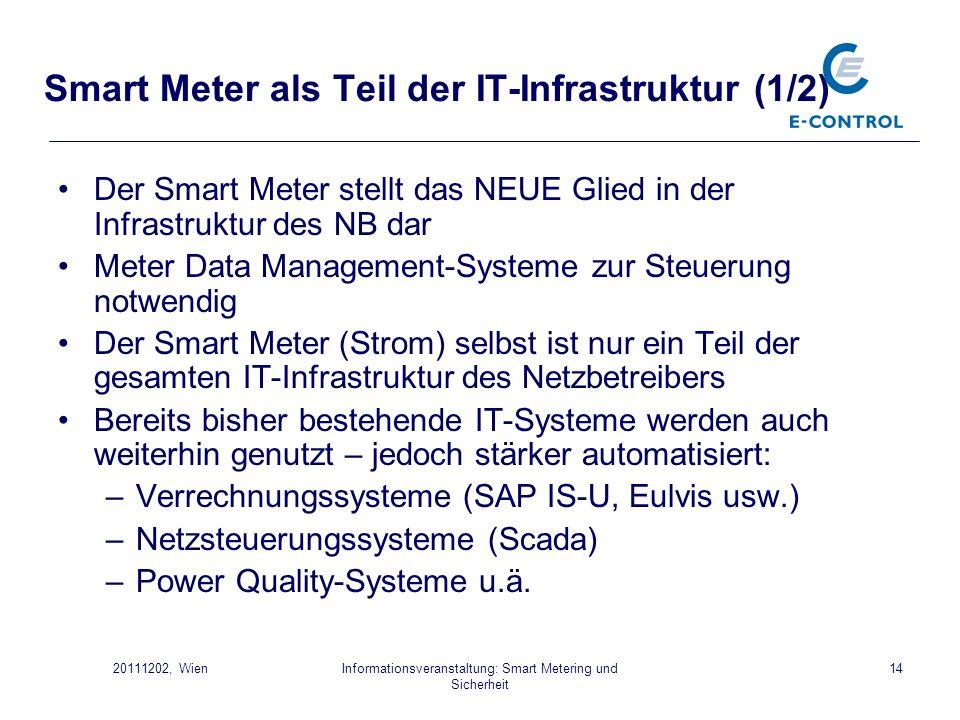 Informationsveranstaltung: Smart Metering und Sicherheit 1420111202, Wien Smart Meter als Teil der IT-Infrastruktur (1/2) Der Smart Meter stellt das N