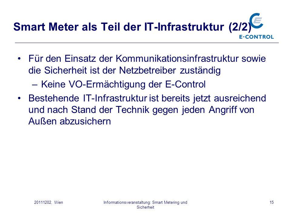 Informationsveranstaltung: Smart Metering und Sicherheit 1520111202, Wien Smart Meter als Teil der IT-Infrastruktur (2/2) Für den Einsatz der Kommunik