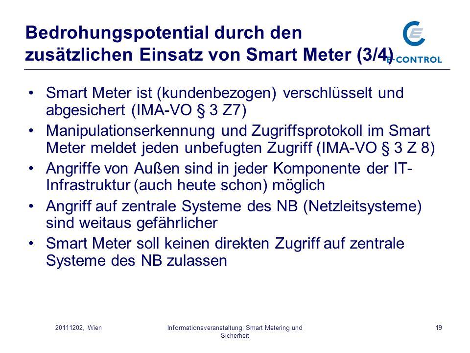 Informationsveranstaltung: Smart Metering und Sicherheit 1920111202, Wien Bedrohungspotential durch den zusätzlichen Einsatz von Smart Meter (3/4) Sma