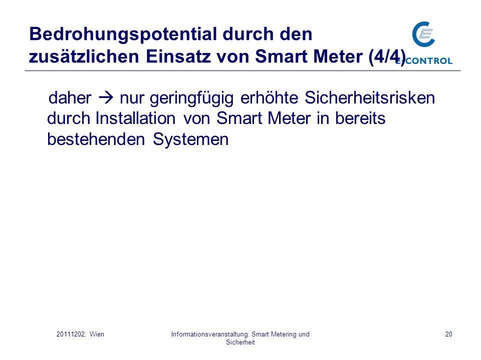 Informationsveranstaltung: Smart Metering und Sicherheit 2020111202, Wien Bedrohungspotential durch den zusätzlichen Einsatz von Smart Meter (4/4) dah