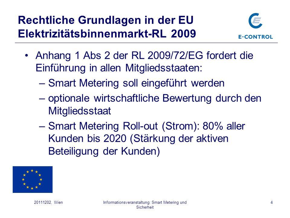 Informationsveranstaltung: Smart Metering und Sicherheit 420111202, Wien Anhang 1 Abs 2 der RL 2009/72/EG fordert die Einführung in allen Mitgliedssta