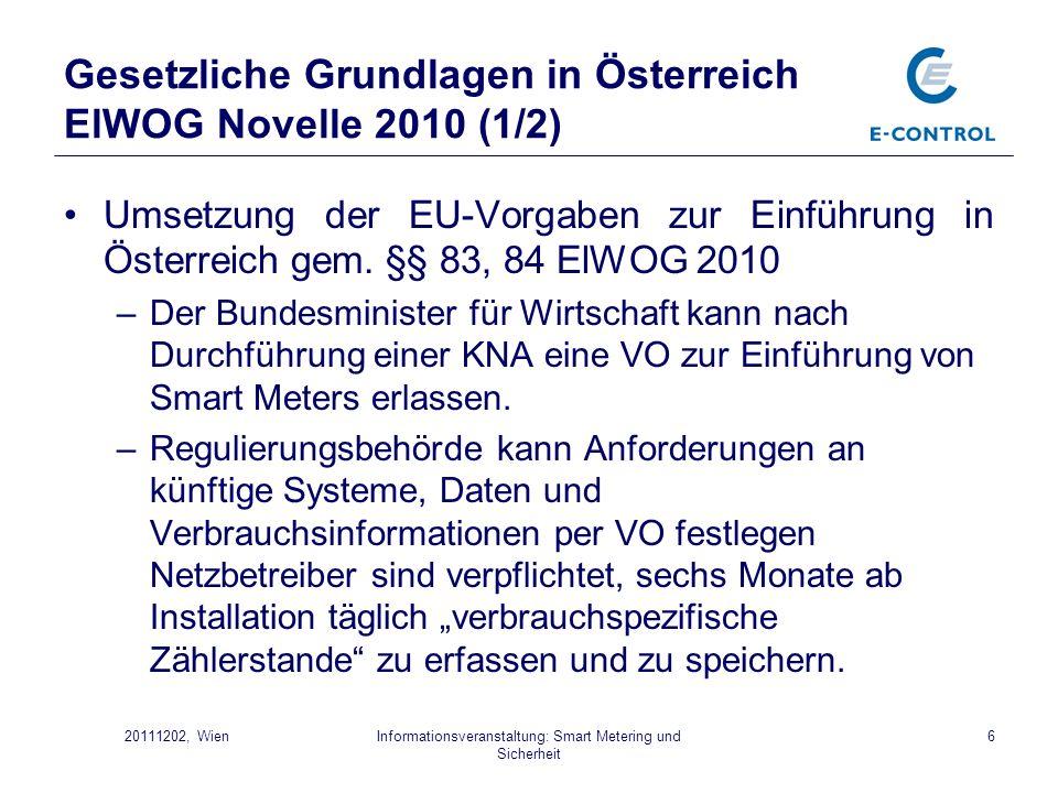 Informationsveranstaltung: Smart Metering und Sicherheit 720111202, Wien Gesetzliche Grundlagen in Österreich ElWOG Novelle 2010 (2/2) –Netzbetreiber sind verpflichtet, sämtliche Verbrauchsdaten spätestens einen Tag nach deren erstmaliger Verarbeitung im Internet kostenlos zur Verfügung zu stellen.