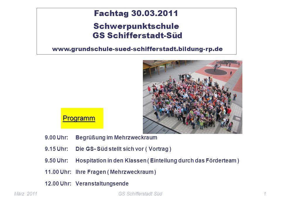 9.00 Uhr: Begrüßung im Mehrzweckraum 9.15 Uhr: Die GS- Süd stellt sich vor ( Vortrag ) 9.50 Uhr: Hospitation in den Klassen ( Einteilung durch das För