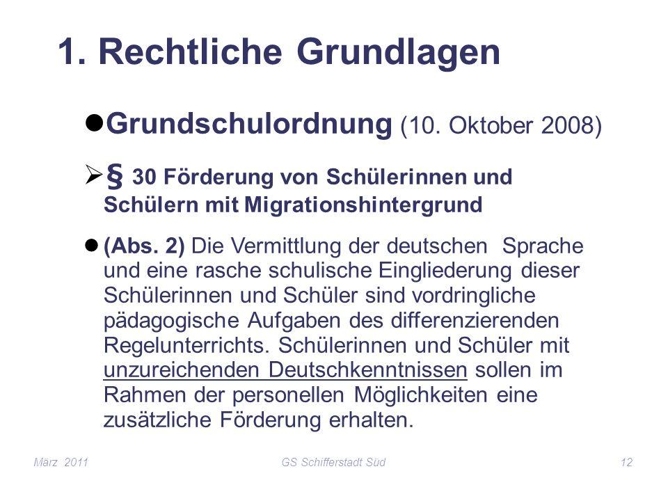 GS Schifferstadt Süd12 1. Rechtliche Grundlagen Grundschulordnung (10. Oktober 2008) § 30 Förderung von Schülerinnen und Schülern mit Migrationshinter