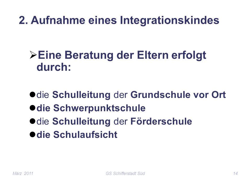 GS Schifferstadt Süd14 2. Aufnahme eines Integrationskindes Eine Beratung der Eltern erfolgt durch: die Schulleitung der Grundschule vor Ort die Schwe