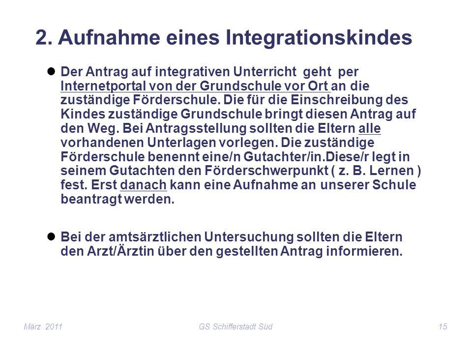 GS Schifferstadt Süd15 2. Aufnahme eines Integrationskindes Der Antrag auf integrativen Unterricht geht per Internetportal von der Grundschule vor Ort