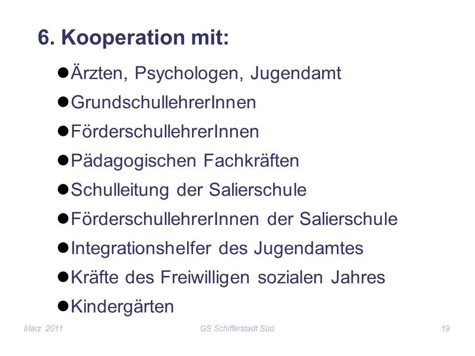 GS Schifferstadt Süd19 6. Kooperation mit: Ärzten, Psychologen, Jugendamt GrundschullehrerInnen FörderschullehrerInnen Pädagogischen Fachkräften Schul