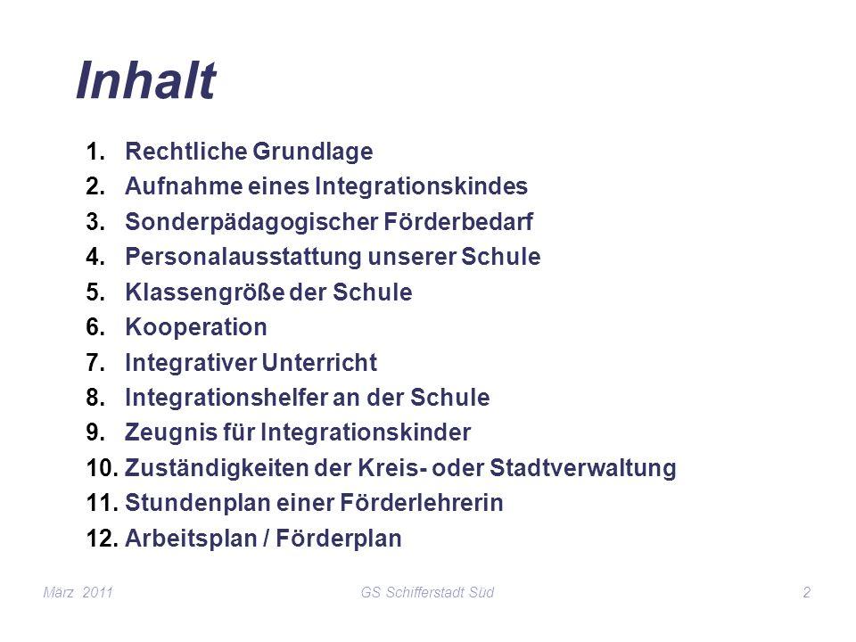GS Schifferstadt Süd2 Inhalt 1.Rechtliche Grundlage 2.Aufnahme eines Integrationskindes 3.Sonderpädagogischer Förderbedarf 4.Personalausstattung unser