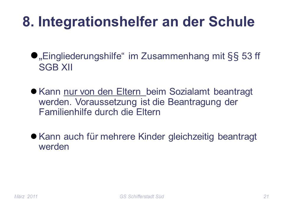 GS Schifferstadt Süd21 8. Integrationshelfer an der Schule Eingliederungshilfe im Zusammenhang mit §§ 53 ff SGB XII Kann nur von den Eltern beim Sozia
