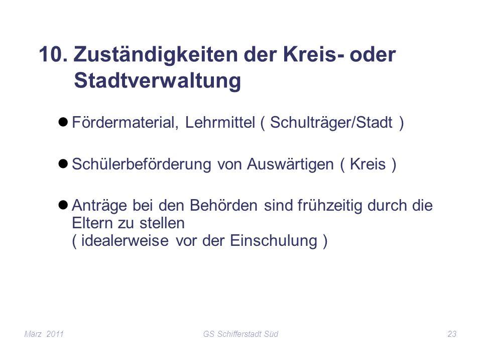 GS Schifferstadt Süd23 10. Zuständigkeiten der Kreis- oder Stadtverwaltung Fördermaterial, Lehrmittel ( Schulträger/Stadt ) Schülerbeförderung von Aus