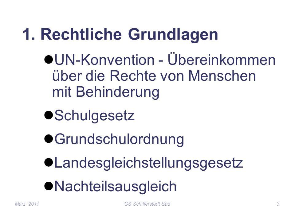 GS Schifferstadt Süd3 1. Rechtliche Grundlagen UN-Konvention - Übereinkommen über die Rechte von Menschen mit Behinderung Schulgesetz Grundschulordnun