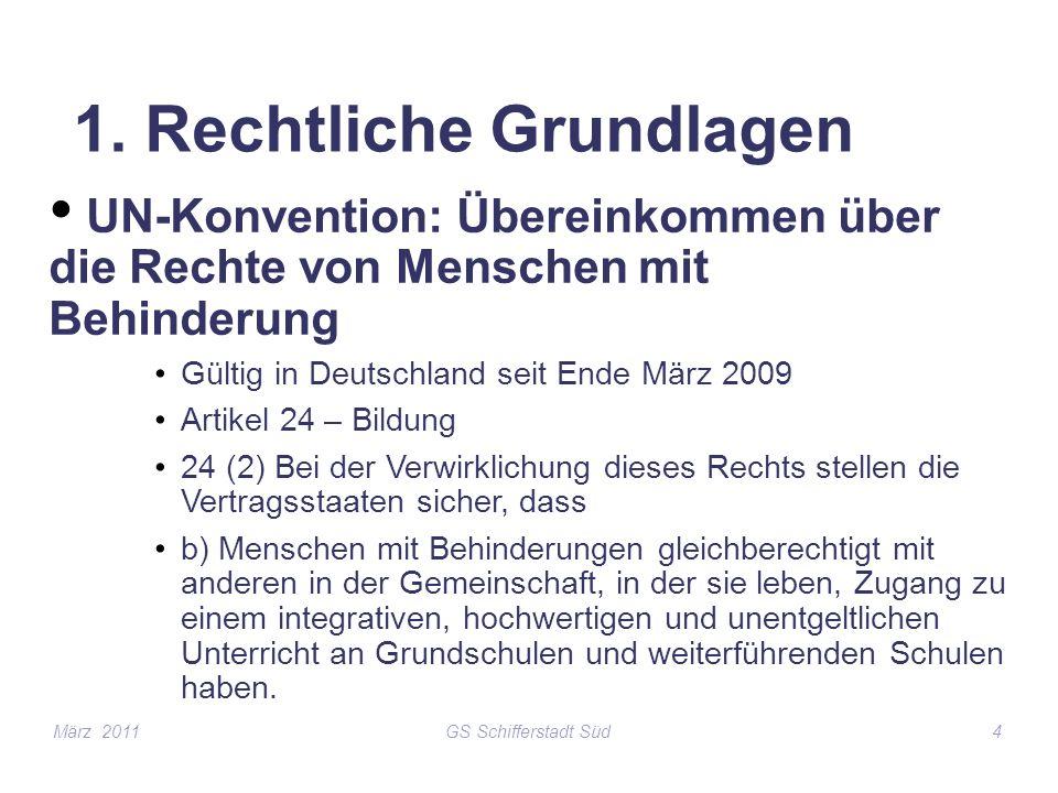 GS Schifferstadt Süd4 1. Rechtliche Grundlagen UN-Konvention: Übereinkommen über die Rechte von Menschen mit Behinderung Gültig in Deutschland seit En