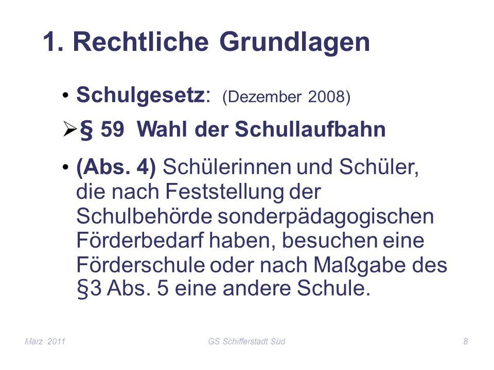 GS Schifferstadt Süd8 1. Rechtliche Grundlagen Schulgesetz: (Dezember 2008) § 59 Wahl der Schullaufbahn (Abs. 4) Schülerinnen und Schüler, die nach Fe