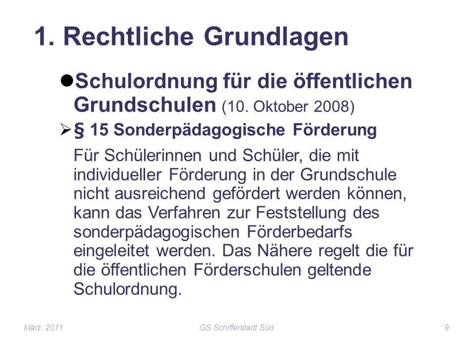 GS Schifferstadt Süd9 1. Rechtliche Grundlagen Schulordnung für die öffentlichen Grundschulen (10. Oktober 2008) § 15 Sonderpädagogische Förderung Für