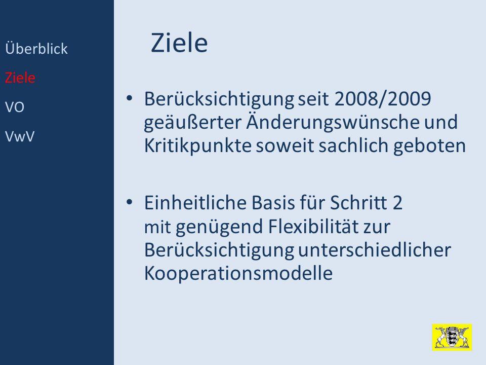 Ziele Berücksichtigung seit 2008/2009 geäußerter Änderungswünsche und Kritikpunkte soweit sachlich geboten Einheitliche Basis für Schritt 2 mit genüge