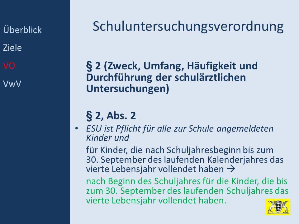 Schuluntersuchungsverordnung § 2 (Zweck, Umfang, Häufigkeit und Durchführung der schulärztlichen Untersuchungen) § 2, Abs. 2 ESU ist Pflicht für alle