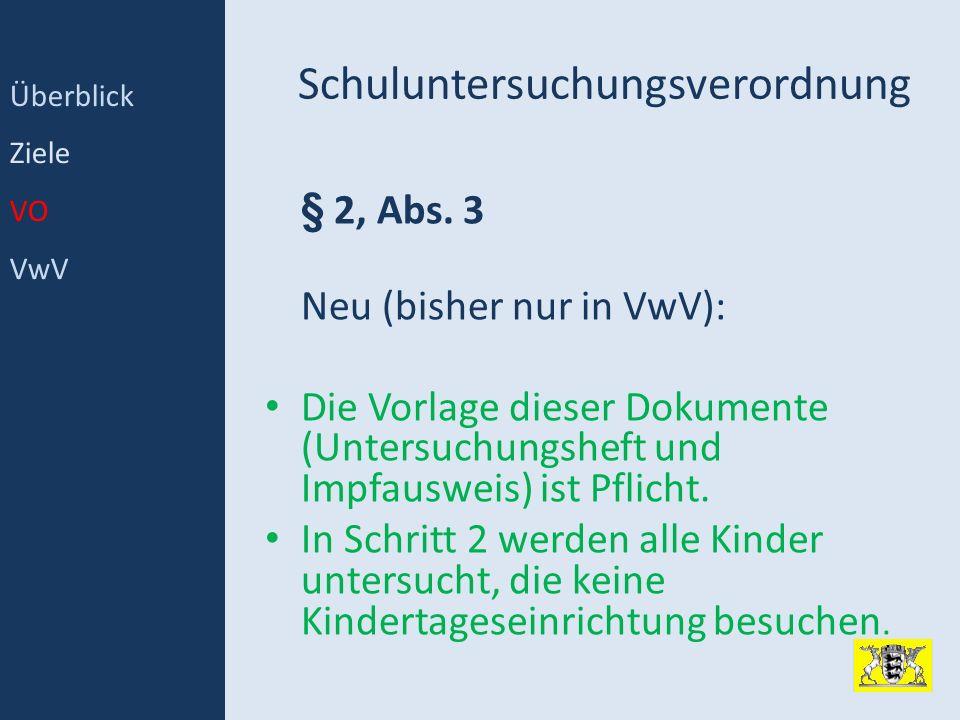 Schuluntersuchungsverordnung § 2, Abs. 3 Neu (bisher nur in VwV): Die Vorlage dieser Dokumente (Untersuchungsheft und Impfausweis) ist Pflicht. In Sch