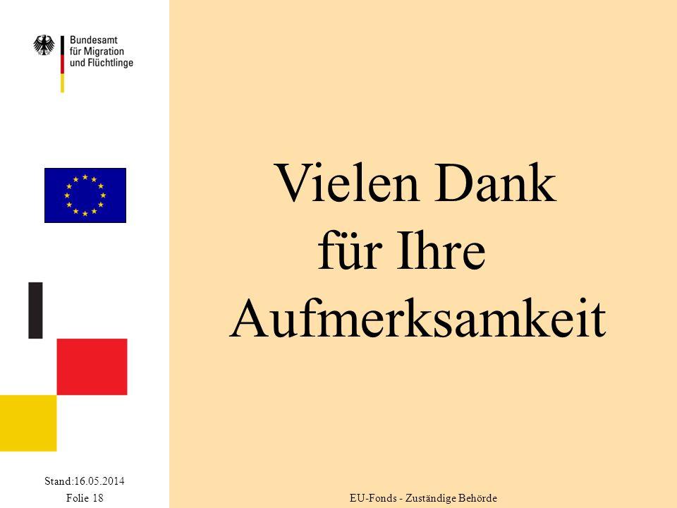 Stand:16.05.2014 Folie 18 Vielen Dank für Ihre Aufmerksamkeit EU-Fonds - Zuständige Behörde