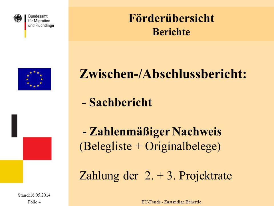 Förderübersicht Berichte Stand:16.05.2014 Folie 4 Zwischen-/Abschlussbericht: - Sachbericht - Zahlenmäßiger Nachweis (Belegliste + Originalbelege) Zahlung der 2.