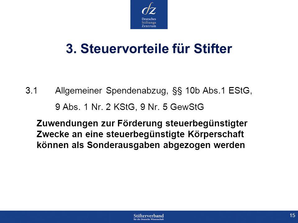 15 3. Steuervorteile für Stifter 3.1 Allgemeiner Spendenabzug, §§ 10b Abs.1 EStG, 9 Abs. 1 Nr. 2 KStG, 9 Nr. 5 GewStG Zuwendungen zur Förderung steuer