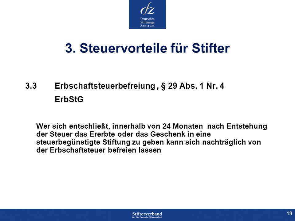 19 3. Steuervorteile für Stifter 3.3Erbschaftsteuerbefreiung, § 29 Abs. 1 Nr. 4 ErbStG Wer sich entschließt, innerhalb von 24 Monaten nach Entstehung