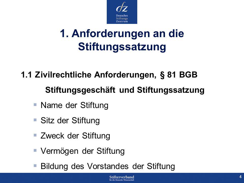 4 1. Anforderungen an die Stiftungssatzung 1.1 Zivilrechtliche Anforderungen, § 81 BGB Stiftungsgeschäft und Stiftungssatzung Name der Stiftung Sitz d