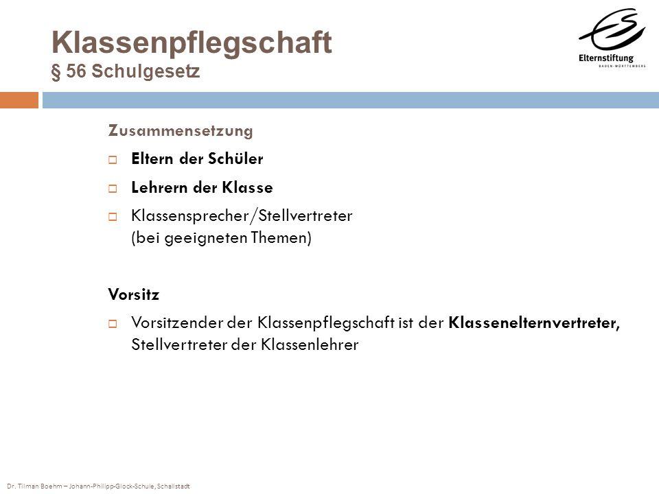 Dr. Tilman Boehm – Johann-Philipp-Glock-Schule, Schallstadt Klassenpflegschaft § 56 Schulgesetz Zusammensetzung Eltern der Schüler Lehrern der Klasse