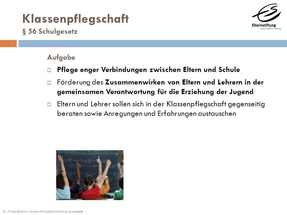 Dr. Tilman Boehm – Johann-Philipp-Glock-Schule, Schallstadt Klassenpflegschaft § 56 Schulgesetz Aufgabe Pflege enger Verbindungen zwischen Eltern und