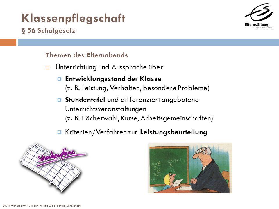 Dr. Tilman Boehm – Johann-Philipp-Glock-Schule, Schallstadt Themen des Elternabends Unterrichtung und Aussprache über: Entwicklungsstand der Klasse (z