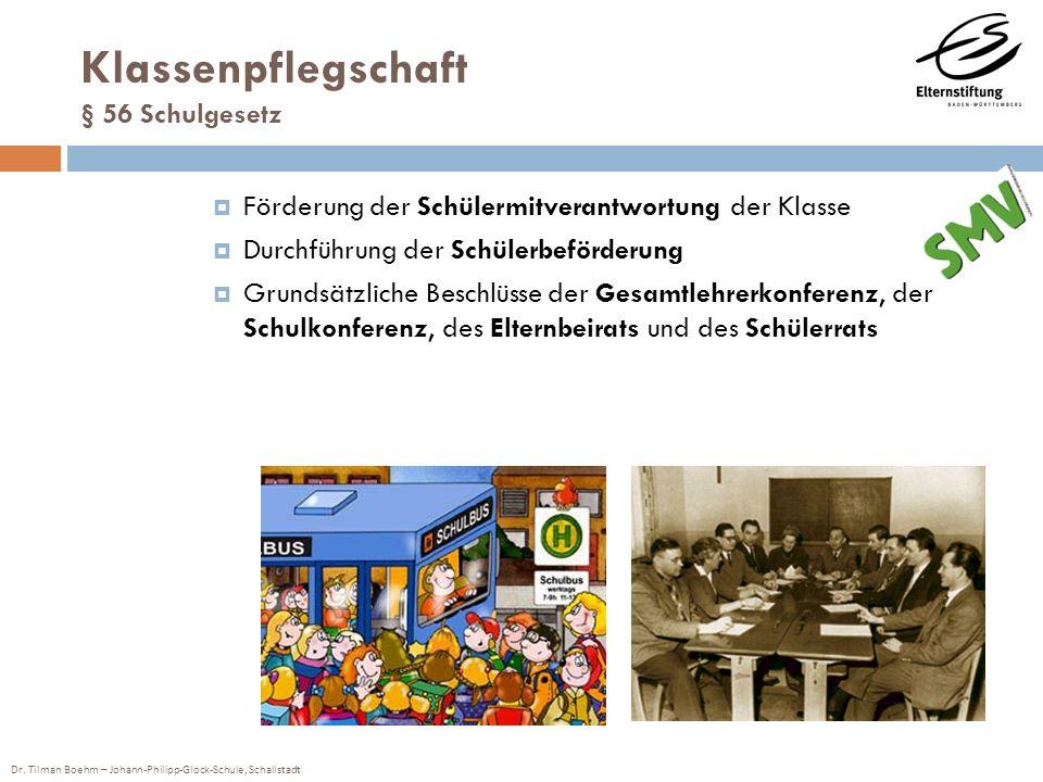 Dr. Tilman Boehm – Johann-Philipp-Glock-Schule, Schallstadt Klassenpflegschaft § 56 Schulgesetz Förderung der Schülermitverantwortung der Klasse Durch
