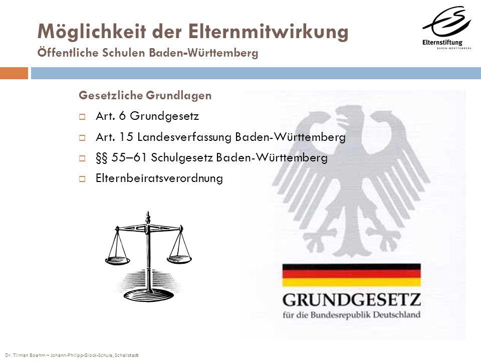 Möglichkeit der Elternmitwirkung Öffentliche Schulen Baden-Württemberg Gesetzliche Grundlagen Art. 6 Grundgesetz Art. 15 Landesverfassung Baden-Württe
