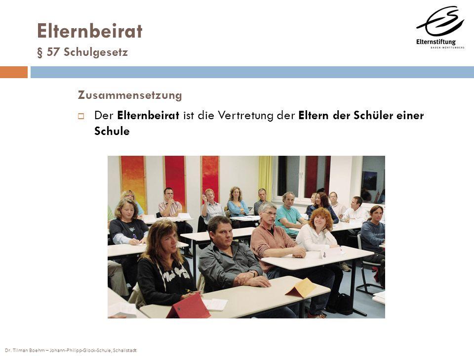 Dr. Tilman Boehm – Johann-Philipp-Glock-Schule, Schallstadt Elternbeirat § 57 Schulgesetz Zusammensetzung Der Elternbeirat ist die Vertretung der Elte